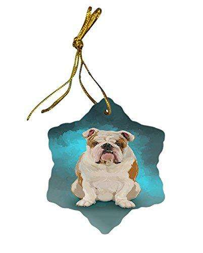Bulldog Dog Christmas Snowflake Ceramic Ornament