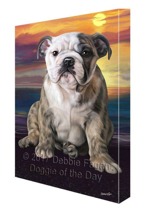Bulldog Dog Painting Printed on Canvas Wall Art Signed