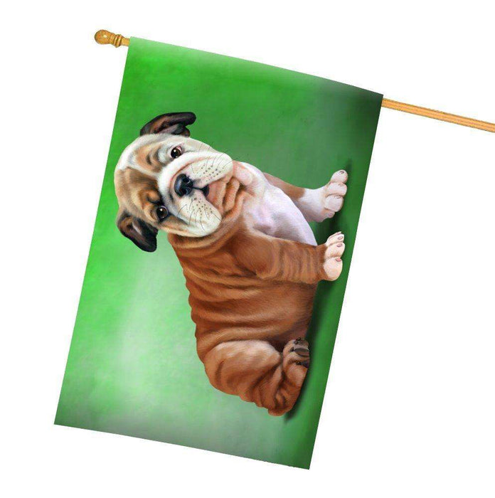Bulldog Puppy Dog All Weather House Flag