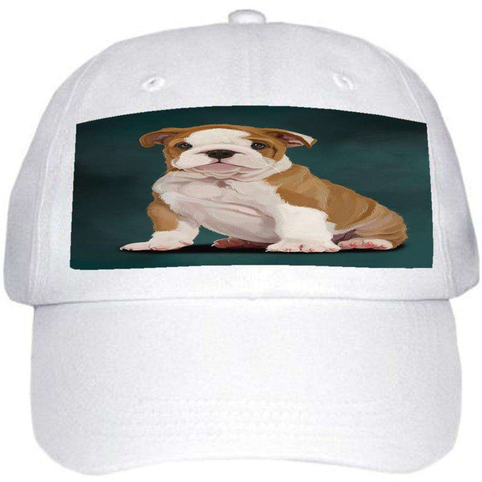 Bulldog Puppy Dog Ball Hat Cap Off White