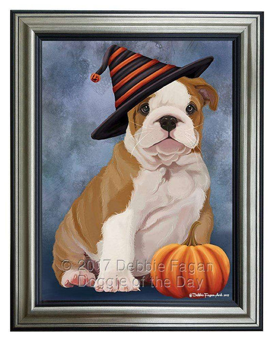 Bulldog Puppy Dog Wearing Witch Hat with Pumpkin Framed Canvas Print Wall Art