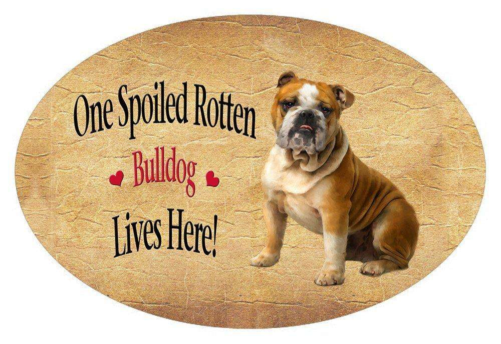 Bulldog Spoiled Rotten Dog Oval Envelope Seals (10)