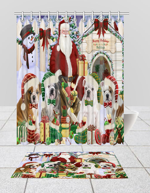 Happy Holidays Christma Bulldog Dogs House Gathering Bath Mat and Shower Curtain Combo