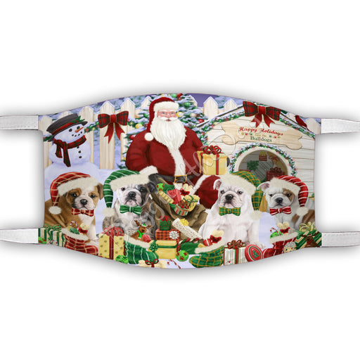Happy Holidays Christmas Bulldogs House Gathering Face Mask FM48232