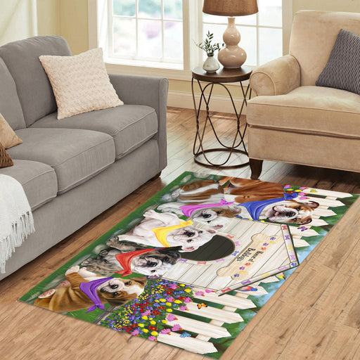Spring Dog House Bulldogs Area Rug