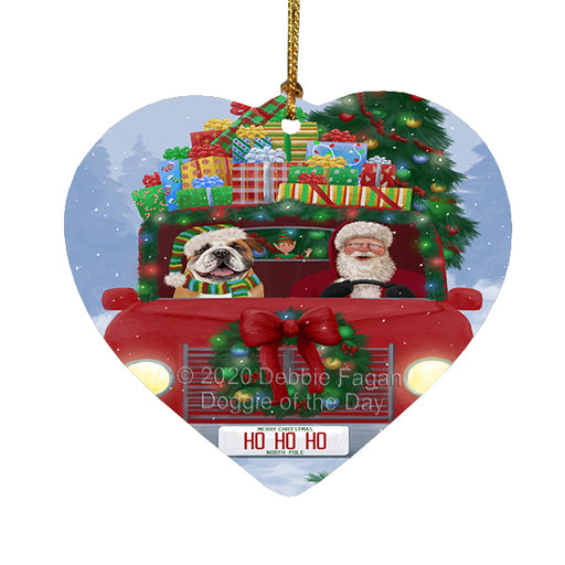 Christmas Honk Honk Red Truck Here Comes with Santa and Bulldog Dog Heart Christmas Ornament RFPOR58156