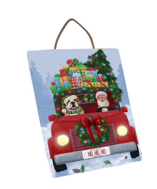 Christmas Honk Honk Red Truck Here Comes with Santa and Bulldog Dog Wall Décor Hanging Photo Slate SLTH58224