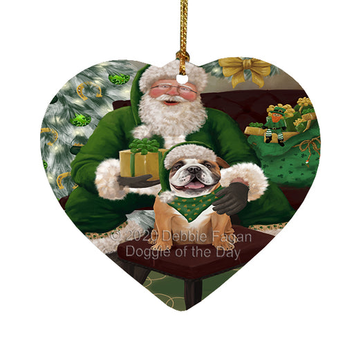 Christmas Irish Santa with Gift and Boxer Dog Heart Christmas Ornament RFPOR58253