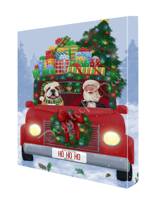 Christmas Honk Honk Here Comes Santa with Bulldog Dog Canvas Print Wall Art Décor CVS146672