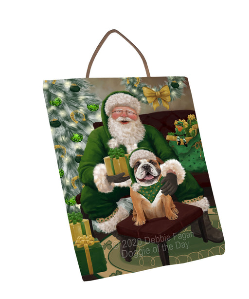 Christmas Irish Santa with Gift and Bulldog Dog Wall Décor Hanging Photo Slate SLTH58322