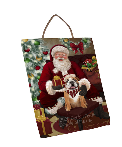 Santa's Christmas Surprise Bulldog Dog Wall Décor Hanging Photo Slate SLTH58420