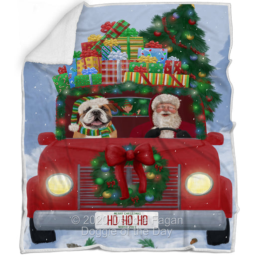 Christmas Honk Honk Red Truck Here Comes with Santa and Bulldog Dog Blanket BLNKT140778