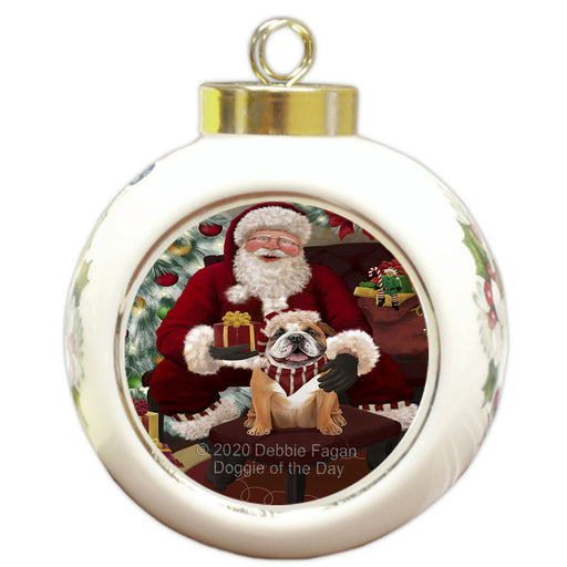 Santa's Christmas Surprise Bulldog Dog Round Ball Christmas Ornament RBPOR58010