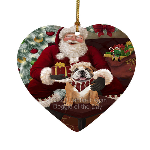 Santa's Christmas Surprise Bulldog Dog Heart Christmas Ornament RFPOR58352