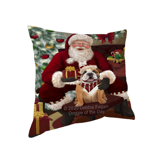 Santa's Christmas Surprise Bulldog Dog Pillow PIL87124