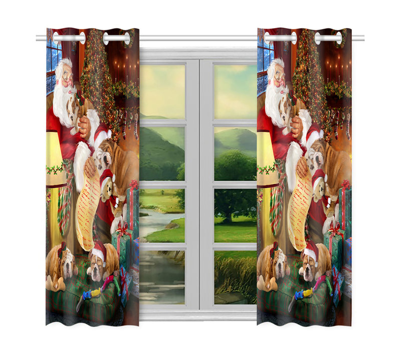Santa Sleeping with Bulldog Dogs Window Curtain