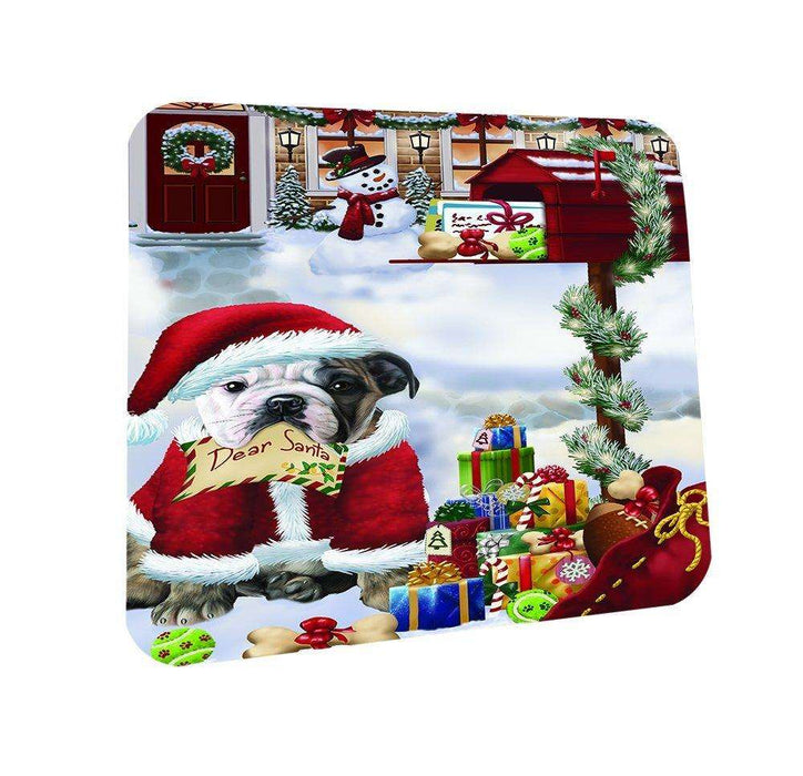 Bulldogs Dear Santa Letter Christmas Holiday Mailbox Dog Coasters Set of 4