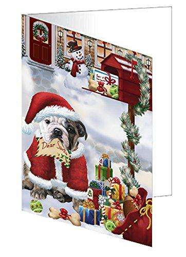 Bulldogs Dear Santa Letter Christmas Holiday Mailbox Dog Greeting Card