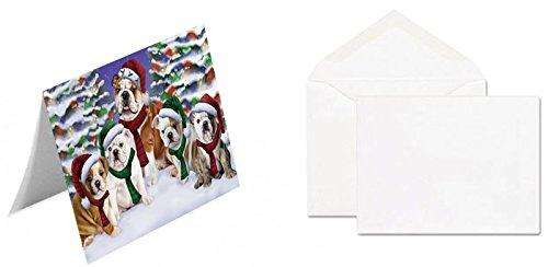 Bulldogs Dog Christmas Family Portrait in Holiday Scenic Background Greeting Card