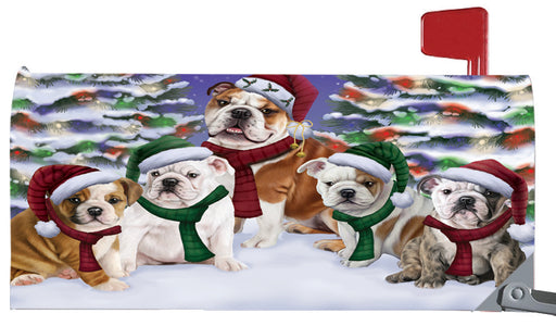 Magnetic Mailbox Cover Bulldogs Christmas Family Portrait in Holiday Scenic Background MBC48210