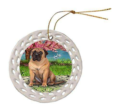 Bullmastiff Dog Christmas Doily Ceramic Ornament