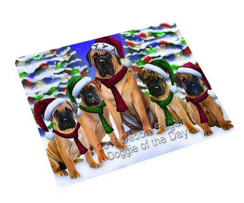"Bullmastiff Dog Christmas Family Portrait In Holiday Scenic Background Magnet Mini (3.5"" x 2"")"
