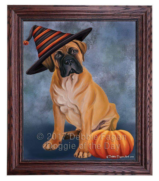 Bullmastiff Dog Wearing Witch Hat with Pumpkin Framed Canvas Print Wall Art