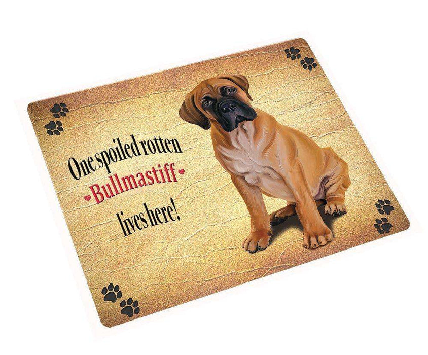 Bullmastiff Spoiled Rotten Dog Art Portrait Print Woven Throw Sherpa Plush Fleece Blanket
