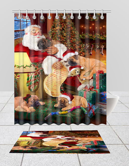 Santa Sleeping with Bullmastiff Dogs  Bath Mat and Shower Curtain Combo