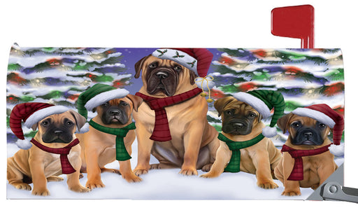 Magnetic Mailbox Cover Bullmastiffs Dog Christmas Family Portrait in Holiday Scenic Background MBC48211