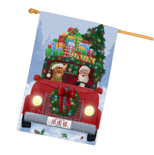 Christmas Honk Honk Red Truck Here Comes with Santa and Bullmastiff Dog House Flag FLG66587