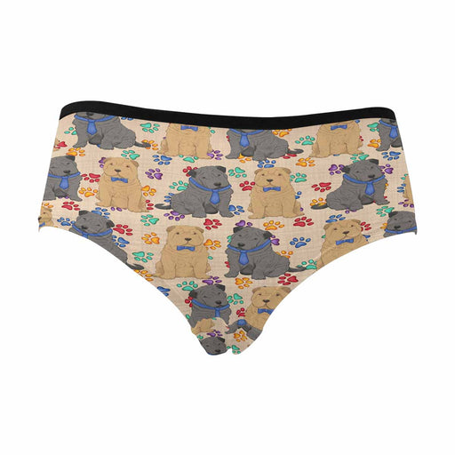 Shar Pei Dogs Blue  Women's High Waist Briefs (Model L26)