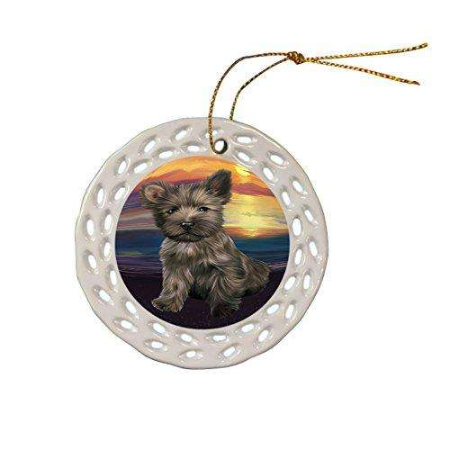 Cairn Terrier Dog Christmas Doily Ceramic Ornament