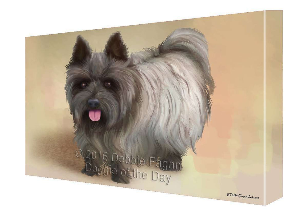 Cairn Terrier Dog Painting Printed on Canvas Wall Art