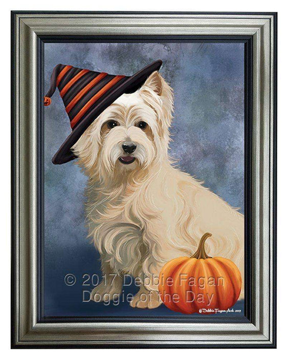 Cairn Terrier Dog Wearing Witch Hat with Pumpkin Framed Canvas Print Wall Art