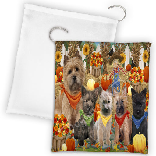 Fall Festive Harvest Time Gathering Cairn Terrier Dogs Drawstring Laundry or Gift Bag LGB48390