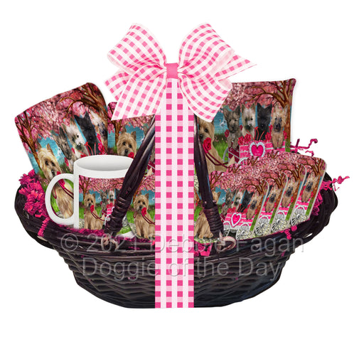 Mother's Day Gift Basket Cairn Terrier Dogs Blanket, Pillow, Coasters, Magnet, Coffee Mug and Ornament