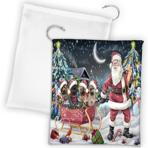 Santa Sled Dogs Christmas Happy Holidays Cairn Terrier Dogs Drawstring Laundry or Gift Bag LGB48685