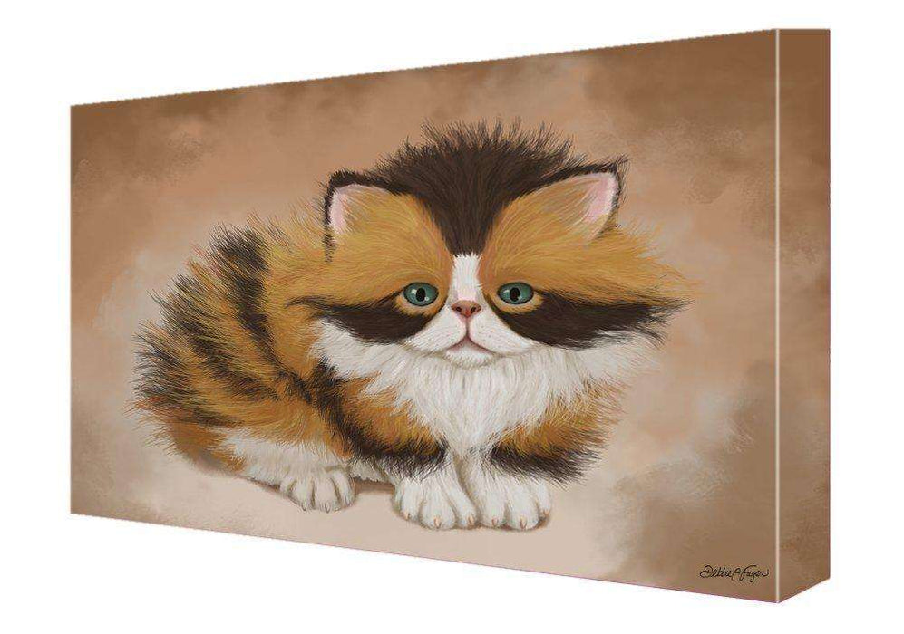 Calico Cat Painting Printed on Canvas Wall Art Signed
