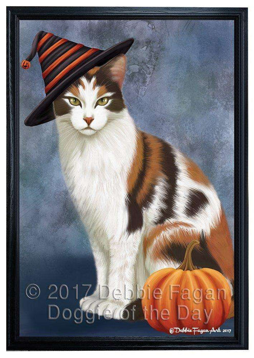 Calico Cat Wearing Witch Hat with Pumpkin Framed Canvas Print Wall Art