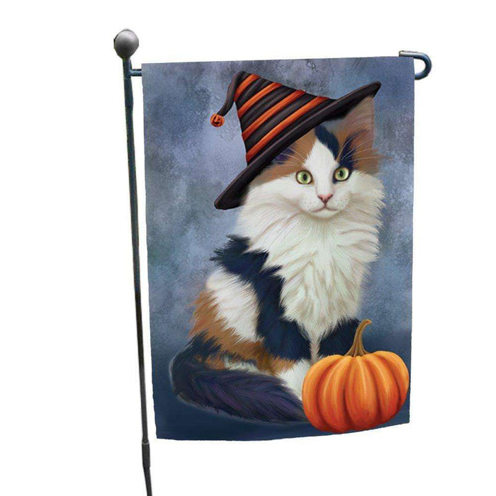 Calico Kitten Cat Wearing Witch Hat with Pumpkin Garden Flag