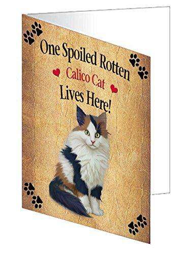Calico Kitten Spoiled Rotten Cat Greeting Card
