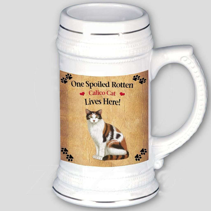 Calico Spoiled Rotten Cat Beer Stein