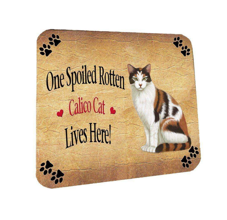 Calico Spoiled Rotten Cat Coasters Set of 4