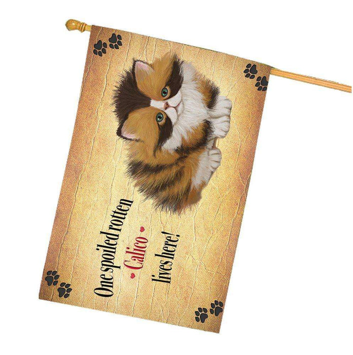 Calico Spoiled Rotten Cat House Flag