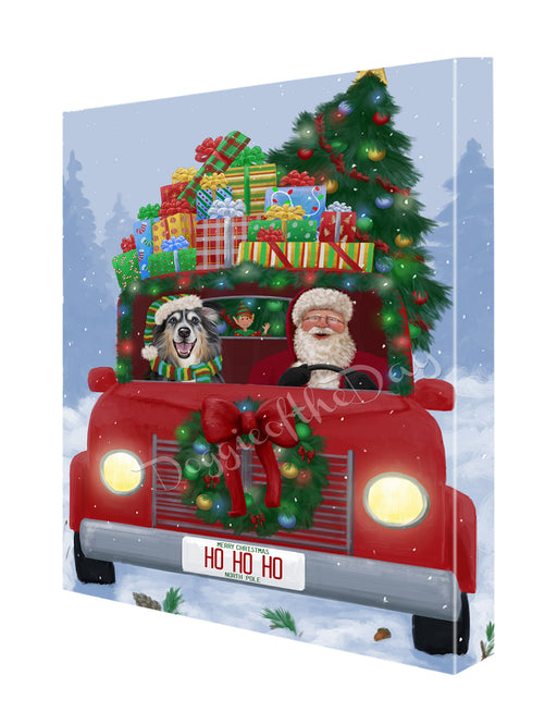 Christmas Honk Honk Here Comes Santa Australian Shepherd Dog Canvas Print Wall Art Décor