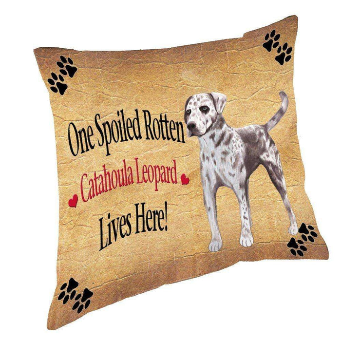 Catahoula Leopard Spoiled Rotten Dog Throw Pillow