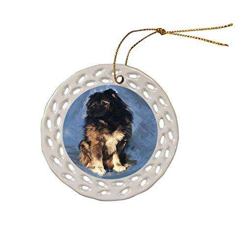 Caucasian Shepherd Dog Christmas Doily Ceramic Ornament