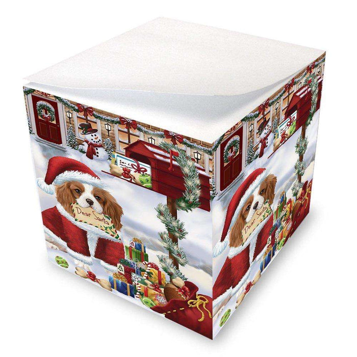 Cavalier King Charles Spaniel Dear Santa Letter Christmas Holiday Mailbox Dog Note Cube D124