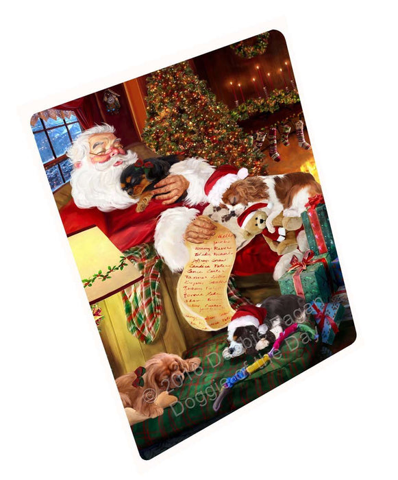 Cavalier King Charles Spaniel Dog and Puppies Sleeping with Santa Magnet